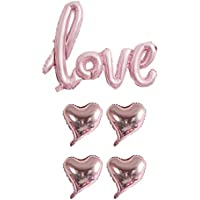 Lumierechat 結婚式 ウェディング LOVE バルーン ハート 風船 筆記体 ゴールド シルバー ピンクゴールド 5枚 セット a-b717 (LOVEバルーンセット, ピンク)