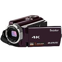 ビデオカメラ Besteker デジタルビデオカメラ 4K WIFI搭載 2400万画素 SD画質 60FPS 24MP 16倍デジタルズーム 270度回転 3インチタッチパネル ナイトビジョン機能SDカード(最大64GB) サポート 広角レンズ装着可能(HDV-534K)