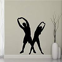 Ljjlm 男と女エアロビクスウォールステッカー家の装飾ジムフィットネスヨガ壁用シールビニールステッカー