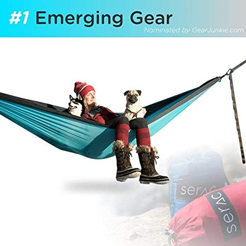 野球バンケット誘惑Serac Sequoia XL Wide Double Hammock with Ripstop Nylon and Quick-Hang Suspension System, Snowmelt Grey/Teal [並行輸入品]