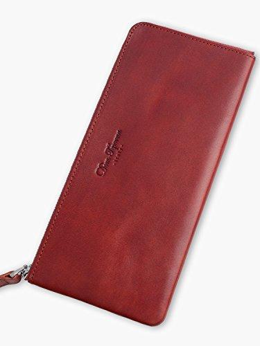 Dom Teporna Italy 財布 本革 イタリアンレザー L字ラウンドファスナー 大容量なのに薄い 長財布 メンズ レディース レッド