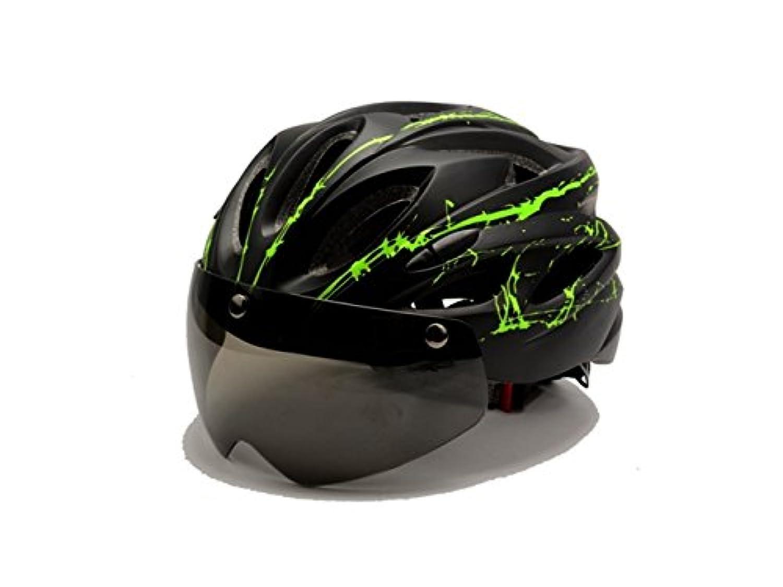 Osize 取り外し可能な磁気ゴーグル付き自転車ヘルメットワンピースライディングヘルメット(ブラック+グリーン)