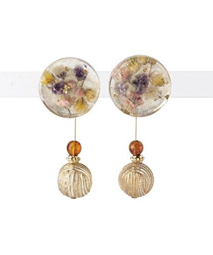 [해외](써니 라벨) Sonny Label 서클 드라이 플라워 귀걸이 LA76-2LM101 one 베이지/(Sunny label) Sonny Label circle dry flower earrings LA 76-2 LM 101 one beige