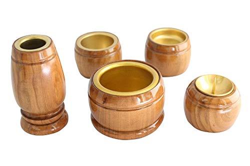 ◆家具調仏具5点セット◆木製仏具 『ウッドライン』 5具足(花立・火立・香炉・仏器・茶器) モダン仏具 仏壇仏具
