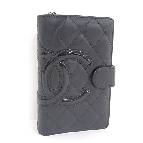 【中古】シャネル カンボンライン 二つ折り財布 A50080 ココマーク レザー ブラック系
