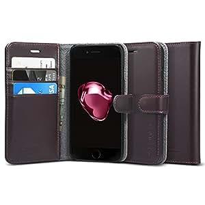 【Spigen】 iPhone7ケース, [ レザー 手帳型 本革 ] ヴァレンティヌス アイフォン 7 用 カバー (iPhone7, ダーク・ブラウン)