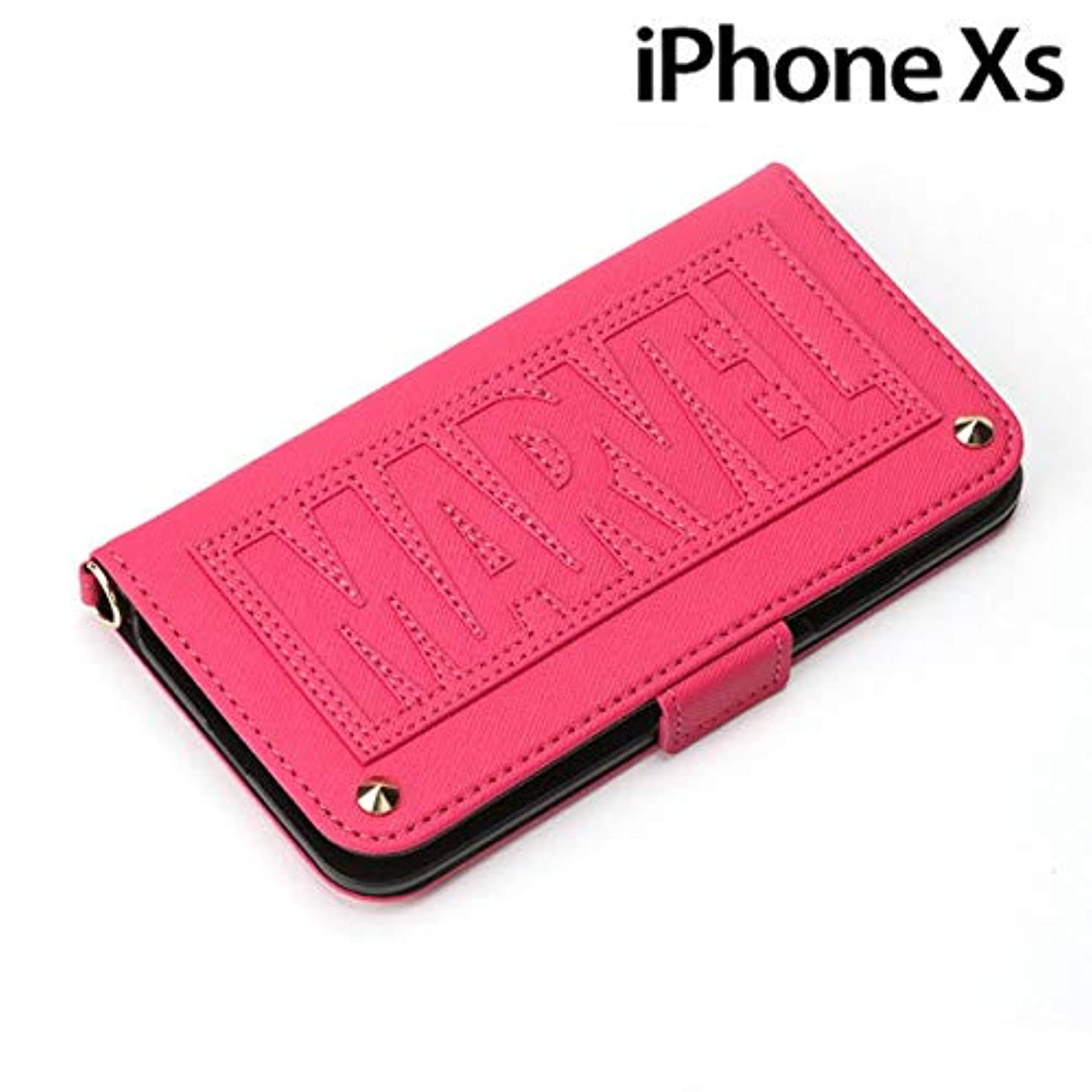 寸法デコラティブタヒチPGA iPhone XS/X用 手帳型ケース MARVEL ロゴ(ピンク) PG-DFP565MVL