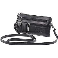 Cellphone Purse Women Wristlet Wallet Leather Clutch Handbag for Cards Smartphone + Katloo Nail Clipper (Black)