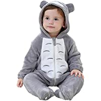 Happity Unisex Romper Flannel Pajamas Animal Hooded Zipper Jumpsuits Women Outwear