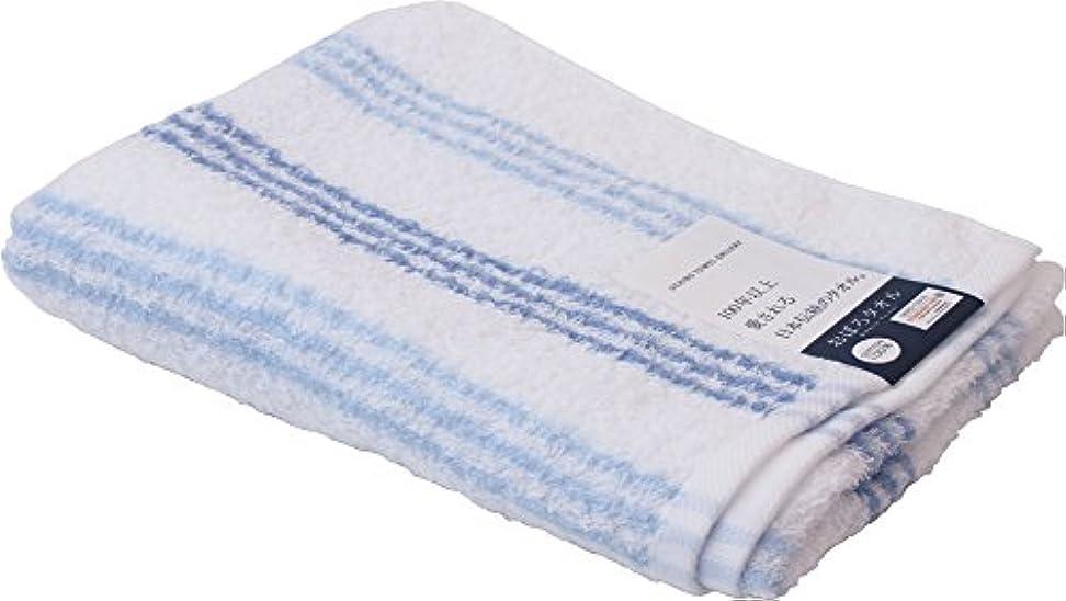 ファンドビジョンジャニスUCHINO 浴用タオル おぼろストライプC 薄く軽く乾きやすい34×90cm ブルー 8807Y619 B