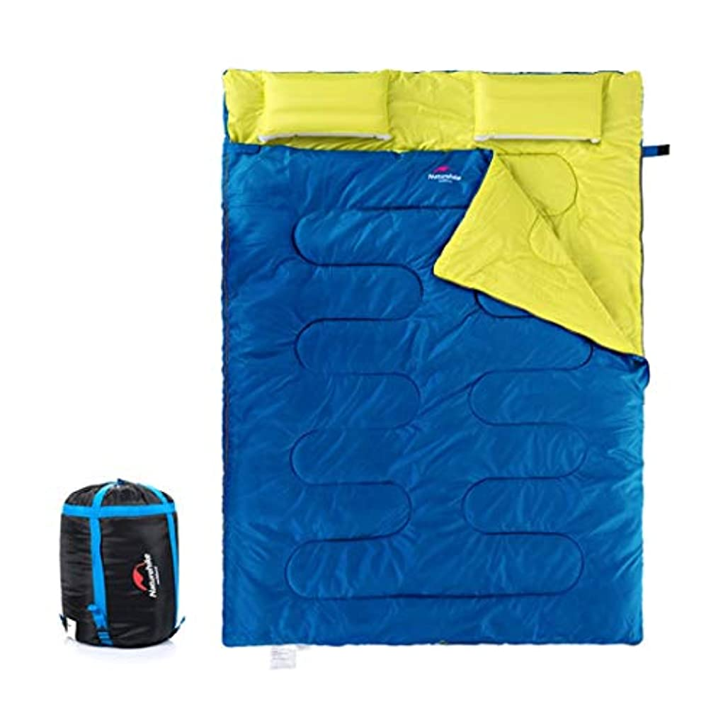 Makecny 2人用薄型寝袋アウトドアトラベル4シーズンライナーキャンプコットンワイド化と厚い寝袋/グリーン (色 : 青)