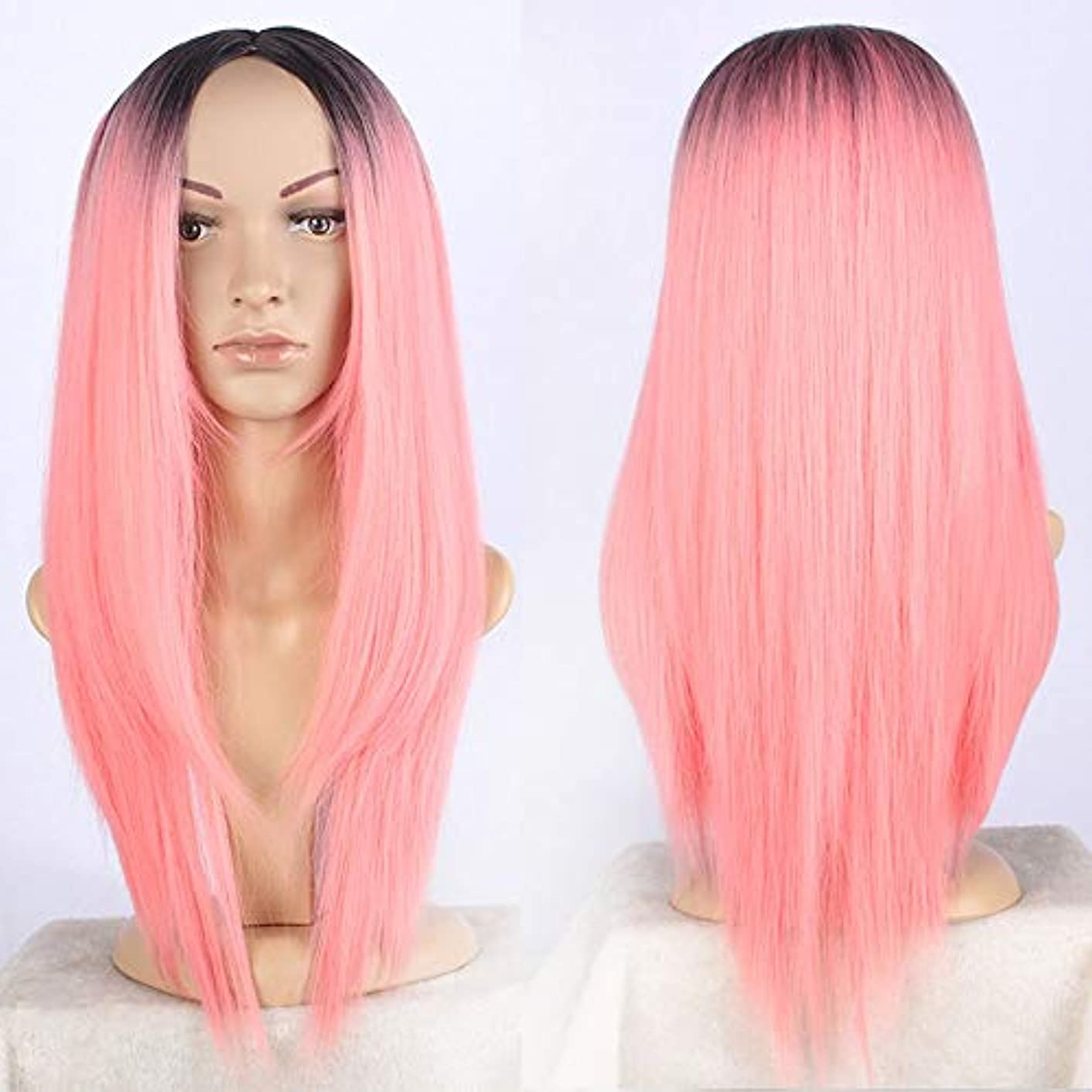 ほうき四回する必要があるWASAIO 女性のためのピンクのかつらダークルーツ自然に見えるストレートフルウィッグデイリードレス耐熱ブロンドアクセサリーヘアスタイルの交換 (色 : ピンク)
