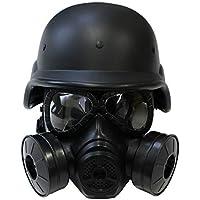 EMISHIA サバゲー ヘルメット ガスマスク セット swat m88 フリッツヘルメット ダブルガスマスク