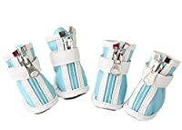 Clluzu 犬の雨のブーツ PU素材ペットの靴テディプードルサンダル保護爪