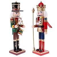 D DOLITY くるみ割り人形 王兵士モデル 人形 ドール ウッド 装飾品 2個 木製