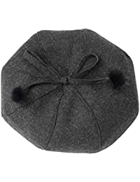 ベレーツさんソフトボウパンプキンハット春と秋冬暖かいオクタゴンハットガールファッションヘアボールビーニー (色 : 黒)