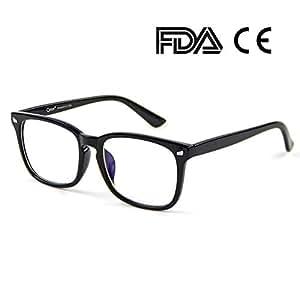 Cyxus(シクサズ)青色光カットメガネ ブルーライトカット(透明レンズ)PCメガネ パソコン用 輻射防止 視力保護 睡眠改善 目の疲れを緩和する 原宿眼鏡 ファッション男女兼用(黒縁)