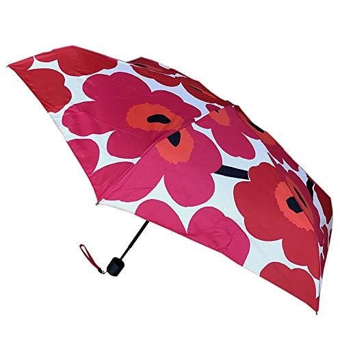 marimekko 折りたたみ傘 ホワイト レッド 16.5x5x5cm