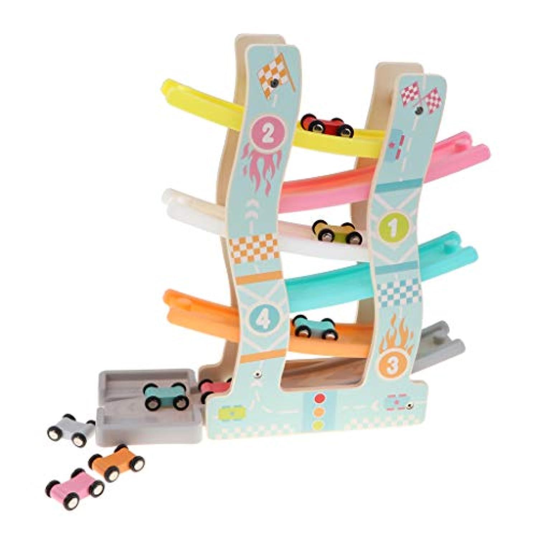 KESOTO 木のおもちゃ くるくるスロープ レーシングカーおもちゃ 軌道 6台車付き