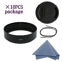 siotiカメラ標準フォーカスメタルレンズフード+クリーニングクロス+レンズキャップfor Nikon Canon Sony Fuji Pentax Sumsung Leica標準スレッドレンズ 77mm*10PCS