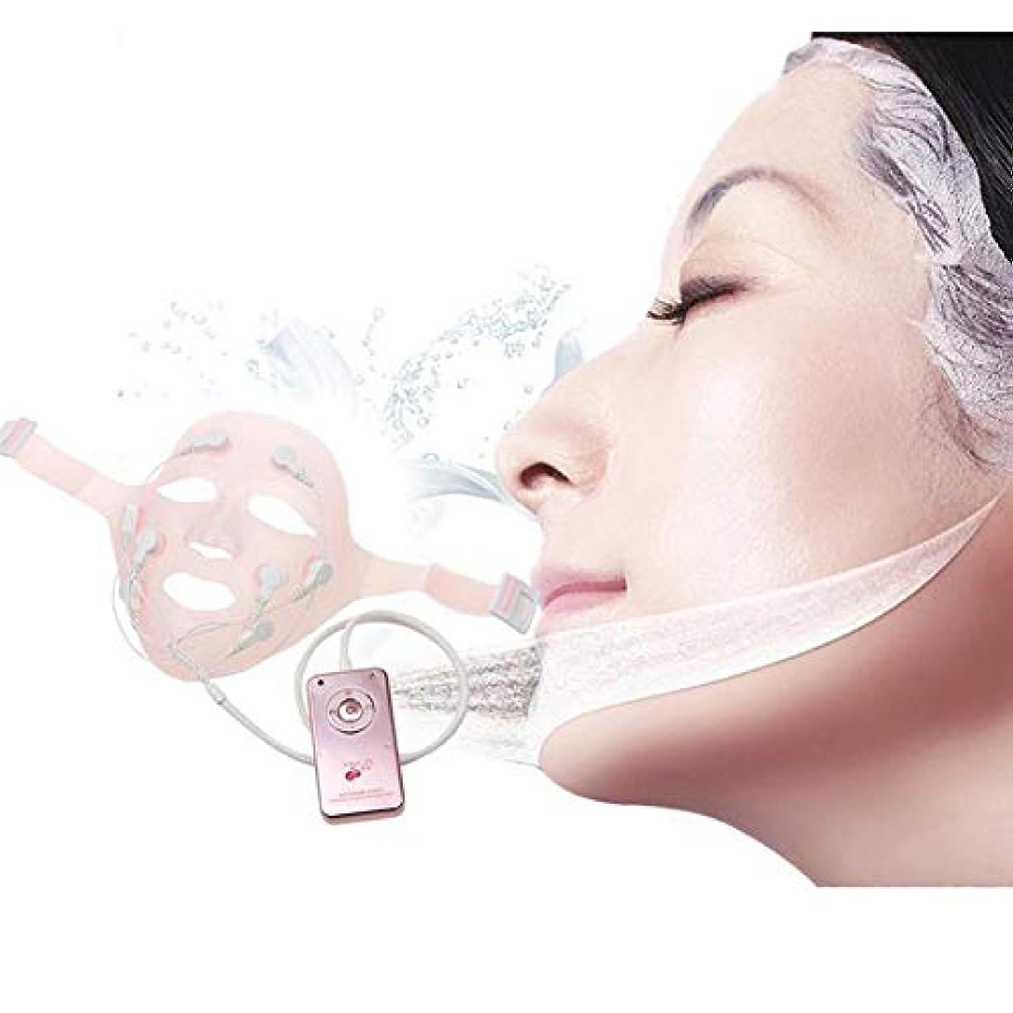 汚染された検体好色な電気EMS振動美容マッサージ機アンチリンクルマグネットマッサージフェイシャルスパフェイスマスク振動フェイシャルマッサージクイックフェイスリフトマスク