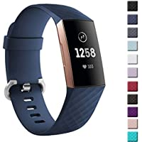 hooroor Compatible Sport Bands Replacement for Fitbit Charge 3 and Charge 3 SE Advanced Fitness Activity Tracker, Silicone Classic Small Large Bracelet Wristband for Women Men