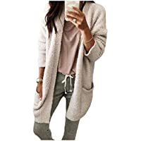Howme-Women Pockets Mid Long Jackets Cardigan Casual Cashmere Sweater Coat