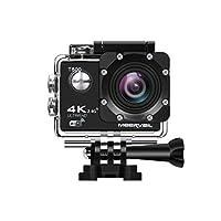 meerveil 4KカメラアクションカメラWiFi防水スポーツカメラwithリモートコントロール170度広角レンズ、Sony CMOS sensor- 2個1050mAhバッテリ、フルアクセサリーキット