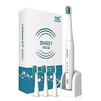 4個の交換ヘッドを備えた超音波充電式電動歯ブラシ歯ブラシ2分ブラシタイマー (アズール)