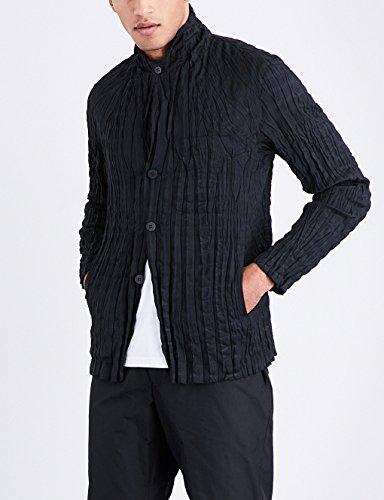 イッセイミヤケ アウター ジャケット・ブルゾン wrinkle woven jacket BLACK 12w [並行輸入品]