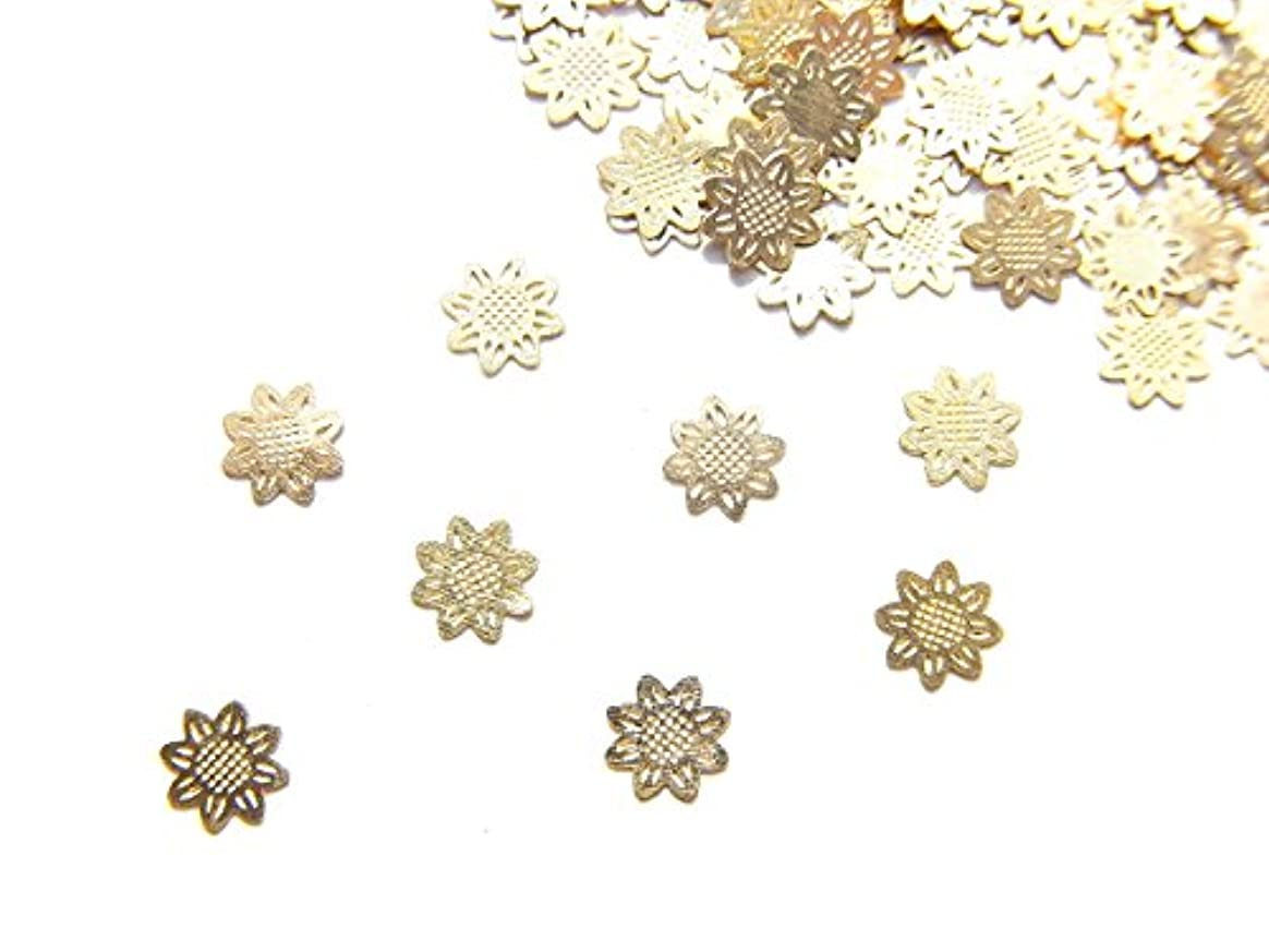 【jewel】ug28 薄型ゴールド メタルパーツ ひまわり 向日葵 10個入り ネイルアートパーツ レジンパーツ