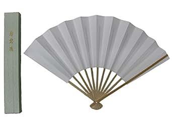 (エクサス)EXAS (京扇子)紳士白扇9寸(約27センチ)11間(収納用文化箱付き)(日本製)