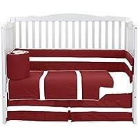 Baby Doll Bedding Solid Stripe Crib 4 Piece Bedding Set Red/White [並行輸入品]