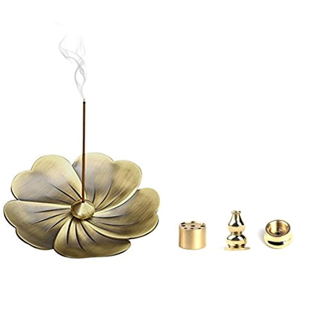 運賃鍔ネットalasidaブロンズSakura花香炉ホルダーと4スタイルBrass Incense Holder forスティック、コーン、コイルIncense Ashキャッチャー香炉ギフトセット