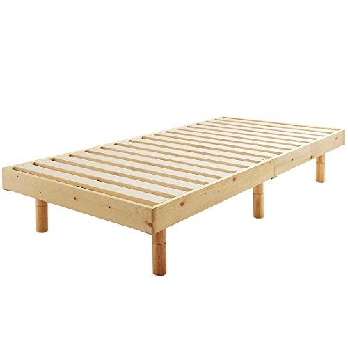 タンスのゲン すのこベッド シングルベッド 天然木 3段階高さ調節 耐荷重:約200kg ナチュラル 11719094 11
