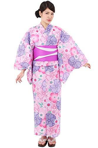 (キョウエツ) KYOETSU レディース浴衣3点セット 変わり織り M/F/TL/BL (浴衣/半幅帯/下駄) (M, 09ピンク(半幅帯 紫×白))