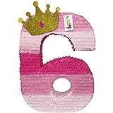 APINATA4U 大きな数字の6ピニャータ ゴールドグリッタークラウン プリンセステーマ パーティーの記念品