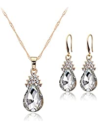 Bullidea Elegant Necklace Earrings Set Artificial Diamond Women Crystal Pendant Jewellery Water Droplets Shape