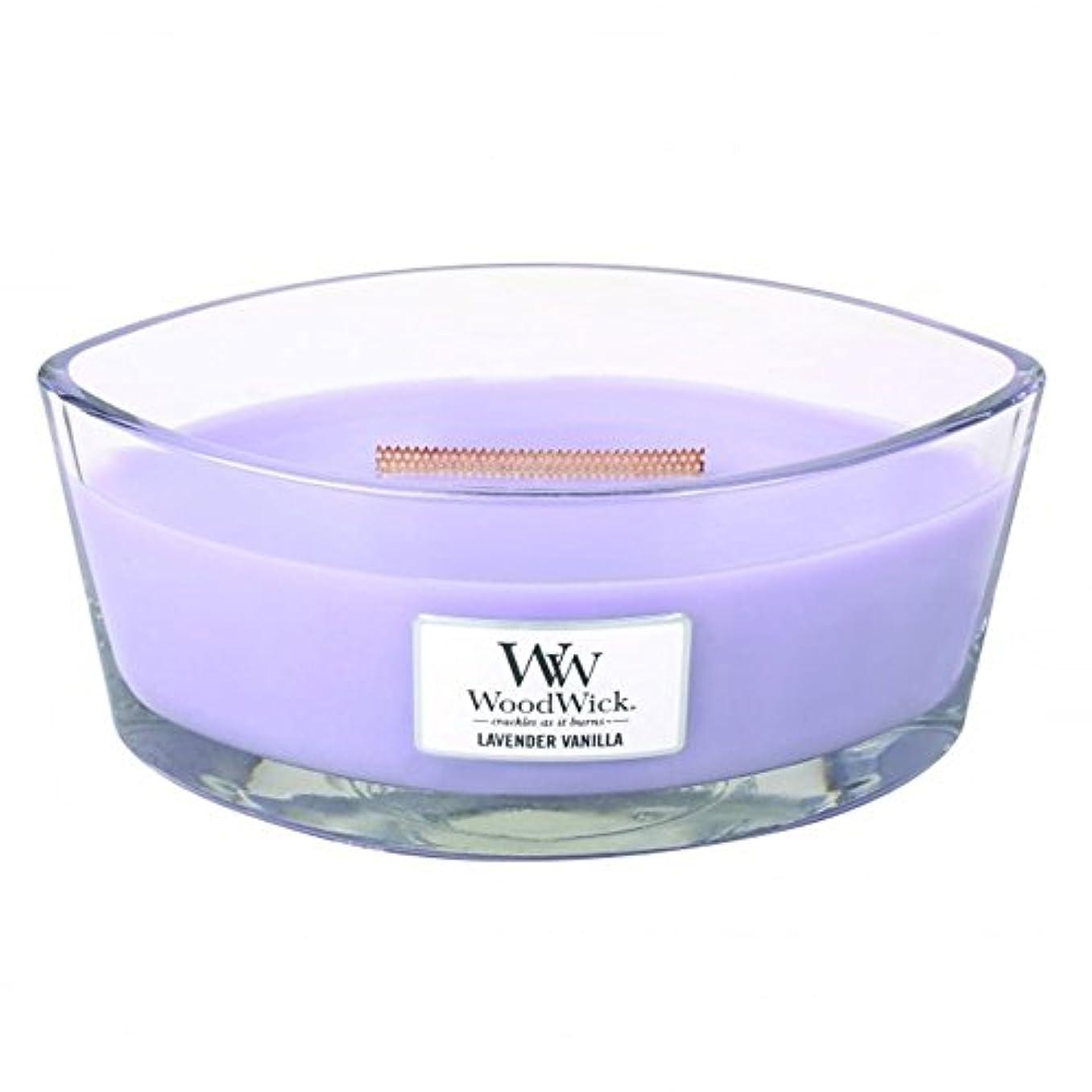 受動的豊かなモディッシュWoodWick ハースウィック フレイム 香り付きキャンドル ラベンダーバニラ 大型