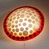 バリウッド・アジアンランプ・バリ照明:丸い合成樹脂のボディに貝殻の水玉模様ですこぶるキュートなランプ!