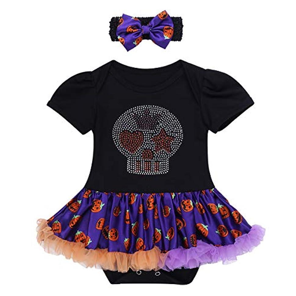 告発者相手細菌(アイム) iiniim ベビー ハロウィン 衣装 赤ちゃん 仮装 悪魔 ロンパース チュチュスカート パンプキンコスチューム 女の子 衣装 カボチャ コスプレ ハロウィン衣装 Black&Purple L