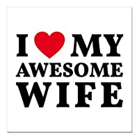 "CafePress–I Love My Awesome妻Squareカーマグネット3"" x 3""–Squareカーマグネット、磁気バンパーステッカー Small - 3x3 128074989786044"
