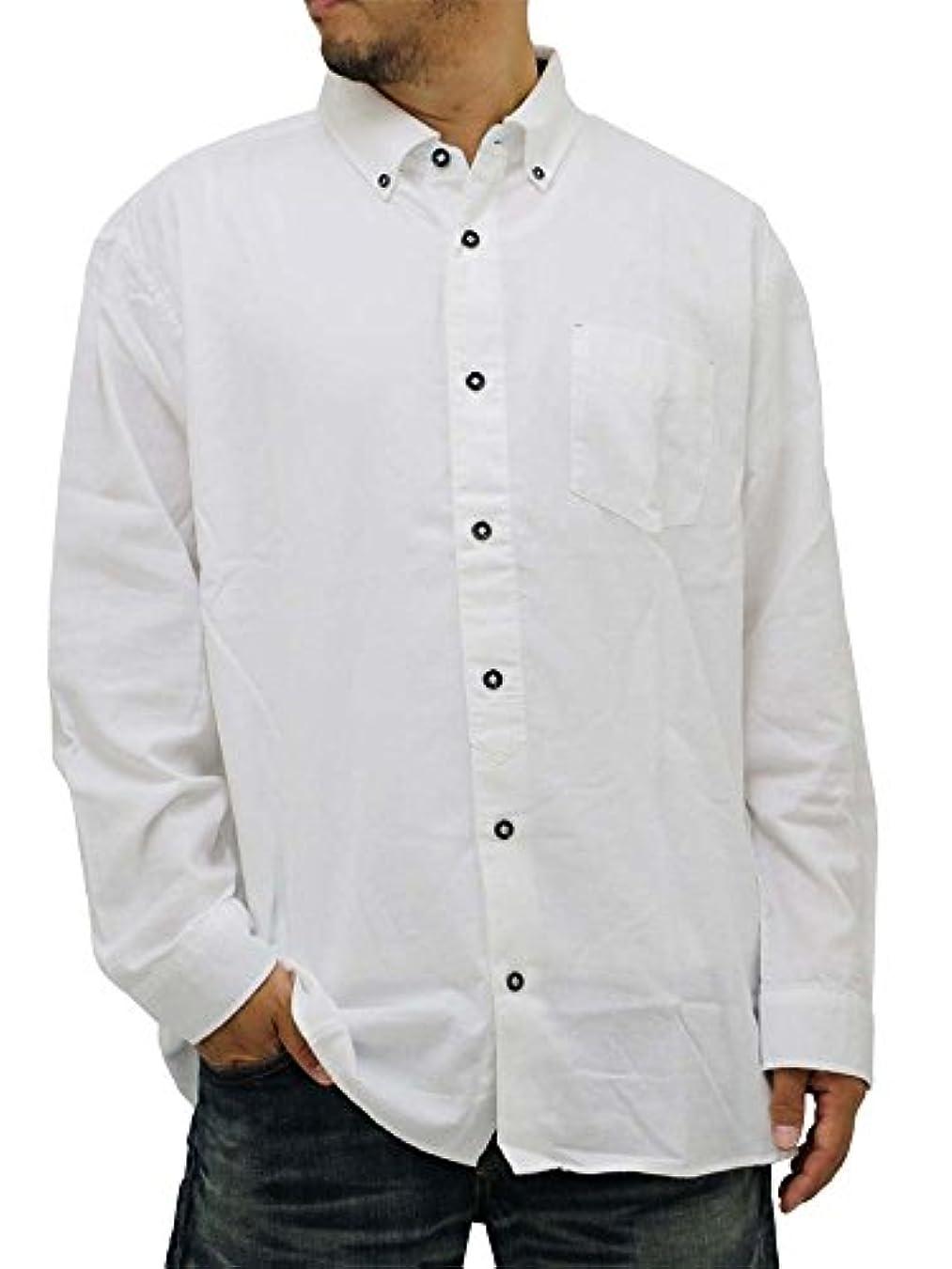 コーンウォール時々時々算術(ルイシャブロン) LOUIS CHAVLON 大きいサイズ シャツ メンズ ボタンダウン 無地 長袖 起毛 モノトーン 2color