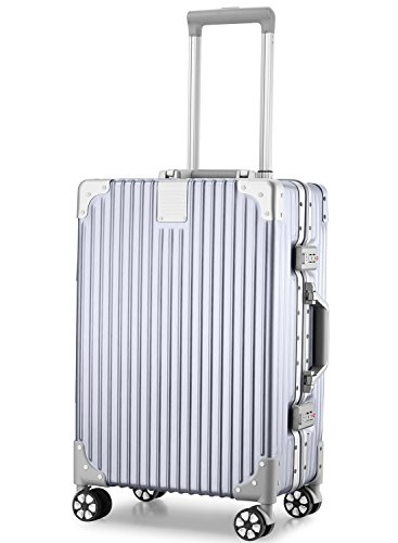 アスボーグ スーツケース キャリーケース 半鏡面仕上げ アライン加工 アルミフレーム レトロ 旅行 出張 軽量 静音 ファスナーレス 機内持込可 保護カバー付き B075PPTXC6 1枚目