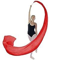 (Scarlet) - Danzcue Dance Silk Worship Gym Rhythmic Art Ballet Flower Streamer(Rod included)