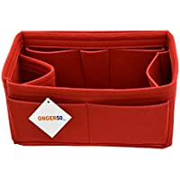 ONGER50 Felt Purse Handbag Tote Organizer Insert - Multi Pocket Storage Liner & Shaper (Large, Red)