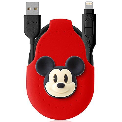 Disney公式ライセンス 2in1 ライトニング ケーブル Lightning Micro USB 巻き取り Apple認証 【USB 2.0 2.4A 急速充電 1M コード ホルダー 付き シリコン 高速データ転送 かわいい ディズニー キャラクター ボタン 収納便利 】 おしゃれ プレゼント iPhone ケーブル マイクロ ケーブル iPhone iPad Android 等対応 / ミッキーマウス(レッド)