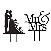 Forusky Acrylic Insert Card Mr & Mrs Groom and Bride Topper Wedding Cake Decoration Topper for Wedding Special Events [並行輸入品]