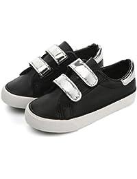 [XINXIKEJI]子供靴 スニーカー 女の子 男の子 デッキシューズ 内寸17-23cm マジック式 履きやすい 防滑 通気 軽量 心地良い おしゃれ 学校 アウトドア 運動靴 キッズシューズ 白/黒