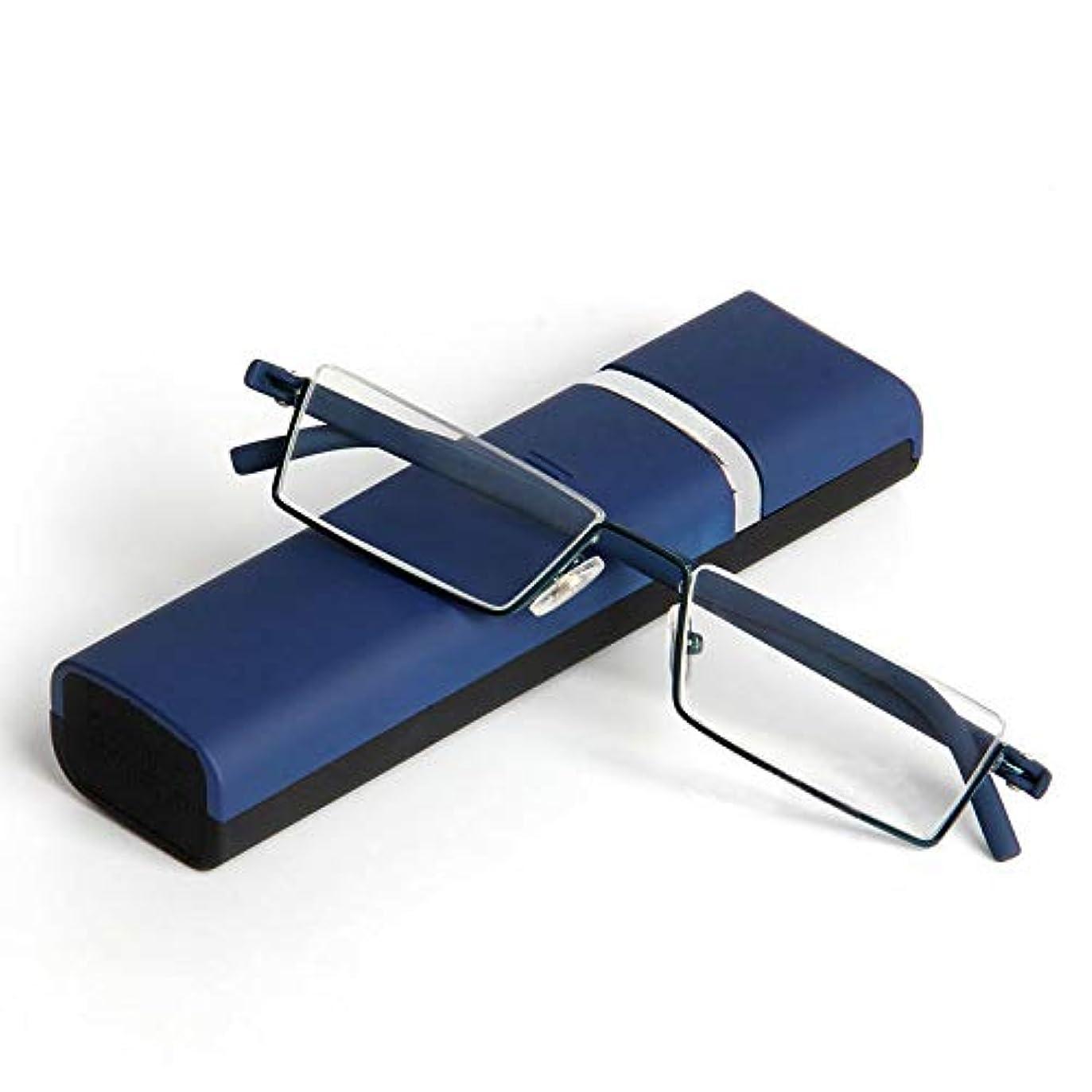 選択する未亡人船上FidgetGear ポータブルブルーハーフリムレスメタル老眼鏡+ 1.0?+ 4.0男性女性スリムリーダー 青
